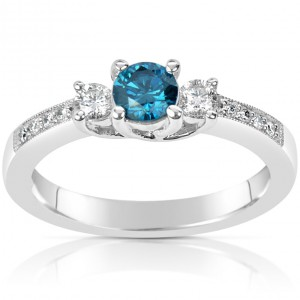 White Gold .60ct TDW Blue and White Diamond Ring - Handcrafted By Name My Rings™