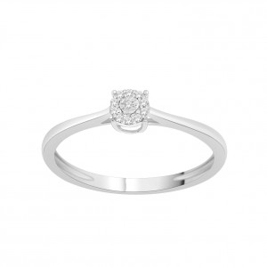 White Gold 1/10ct TDW Diamond Cluster Bypass Promise Ring - Handcrafted By Name My Rings™