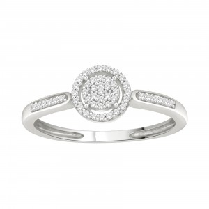 White Gold 1/10ct TDW Diamond Cluster Engagement Ring - Handcrafted By Name My Rings™