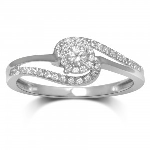 Women's White Gold 1/4-carat Total Weight I-J I2-I3 Diamond Fashion Ring - Handcrafted By Name My Rings™