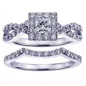 White Gold 1 1/6ct Braided Princess-cut Diamond Engagement Wedding Band Set - Handcrafted By Name My Rings™