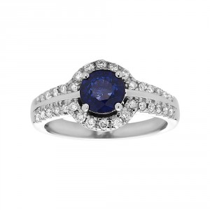 White Gold Sapphire Diamond Ring - Handcrafted By Name My Rings™