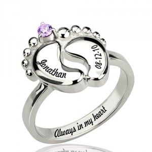 Personalised Engraved Baby Feet Ring with Birthstone - Handcrafted By Name My Rings™
