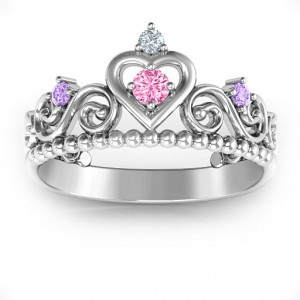 Personalised Princess Charming Tiara Ring - Handcrafted By Name My Rings™