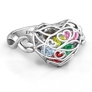 Personalised Encased in Love Caged Hearts Ring with Infinity Band - Handcrafted By Name My Rings™