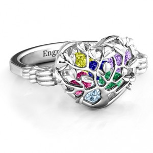 Personalised Family Tree Caged Hearts Ring with Butterfly Wings Band - Handcrafted By Name My Rings™