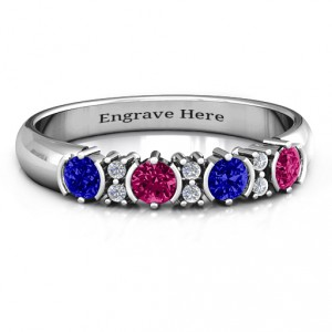 Personalised 36 Stone Circular Half Bezel and Twin Accent Ring - Handcrafted By Name My Rings™