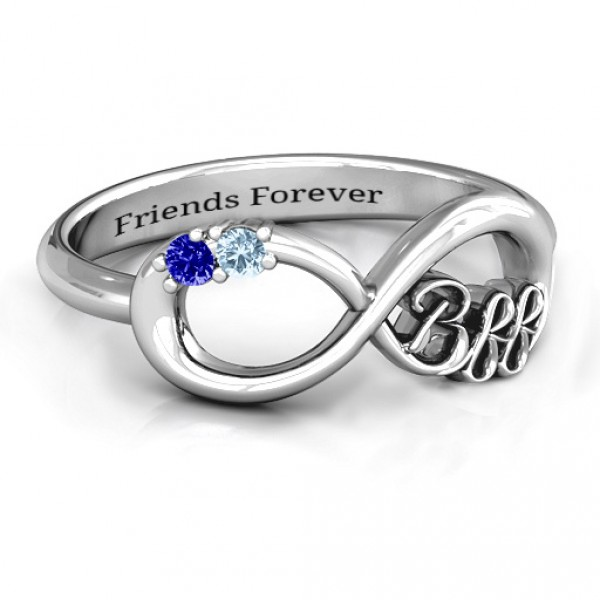 a05f8a18af2352 Personalised BFF Friendship Infinity Ring with 2 7 Stones - Handcrafted By Name  My Rings™