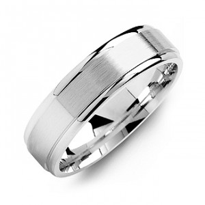 Personalised Brushed Centre Men's Ring with Polished Edges - Handcrafted By Name My Rings™