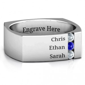 Personalised Cache Squareshaped Gemstone Men's Ring - Handcrafted By Name My Rings™