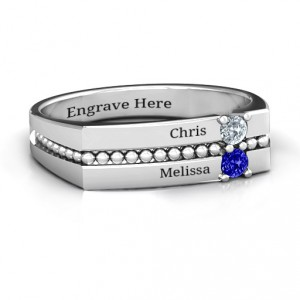 Personalised Crevice Beaded Women's Ring - Handcrafted By Name My Rings™