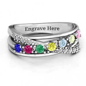 Personalised Crossover Accent Multi Band Ring - Handcrafted By Name My Rings™