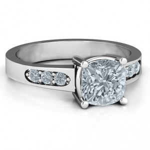 Personalised Cushion Cut Solitaire with Accents Ring - Handcrafted By Name My Rings™