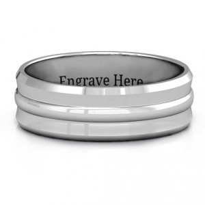Personalised Forge Bevelled and Banded Men's Ring - Handcrafted By Name My Rings™
