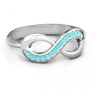 Personalised Infinity Ring with Single Accent Row - Handcrafted By Name My Rings™