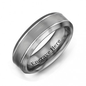 Personalised Men's Beveled Edge Brushed Centre Tungsten Ring - Handcrafted By Name My Rings™