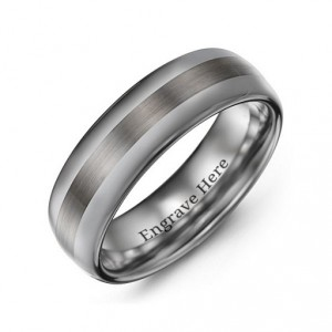 Personalised Men's Polished Brushed Centre Tungsten Ring - Handcrafted By Name My Rings™