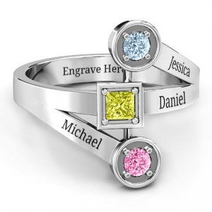 Personalised Modern Birthstone Ring - Handcrafted By Name My Rings™