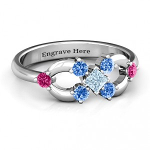 Personalised Princess Centre Infinity Ring - Handcrafted By Name My Rings™