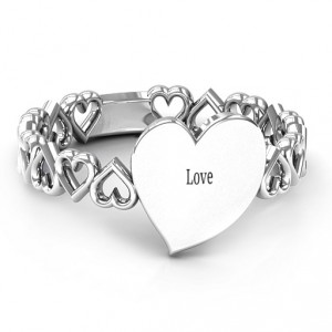Personalised Engravable Cut Out Hearts Ring - Handcrafted By Name My Rings™