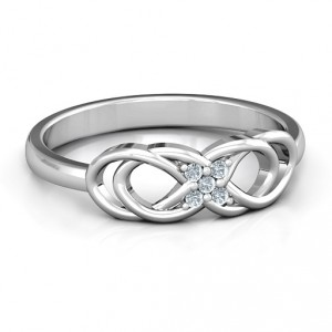 Personalised Infinity Knot Ring with Accents - Handcrafted By Name My Rings™