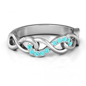 Personalised Triple Entwined Infinity Ring with Accents - Handcrafted By Name My Rings™