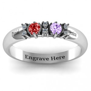 Personalised Twin Circular Half Bezel Twin Accent Ring - Handcrafted By Name My Rings™