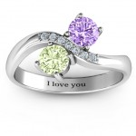 Personalised Storybook Romance Two Stone Ring - Handcrafted By Name My Rings™