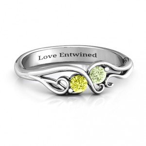 Personalised Swirl of Style Birthstone Ring - Handcrafted By Name My Rings™