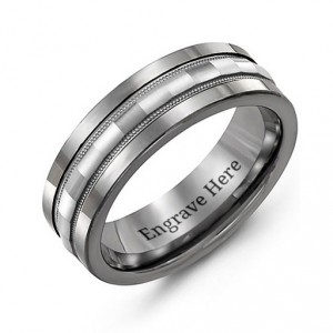 Personalised Tungsten Men's Tungsten Grooved Centre Band Ring - Handcrafted By Name My Rings™