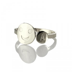 Personalised Smile Ring with Initial - Handcrafted By Name My Rings™