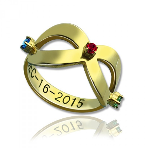 Personalised Engraved Infinity Birthstone Ring - Handcrafted By Name My Rings™
