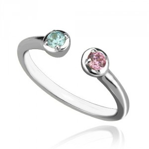Personalised 2 Stone Dual Birthstone Cuff Ring - Handcrafted By Name My Rings™