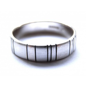 Personalised Mens Barcode Oxidized Ring - Handcrafted By Name My Rings™